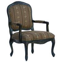 Essex Black Wood Accent Chair with Chenille Upholstery