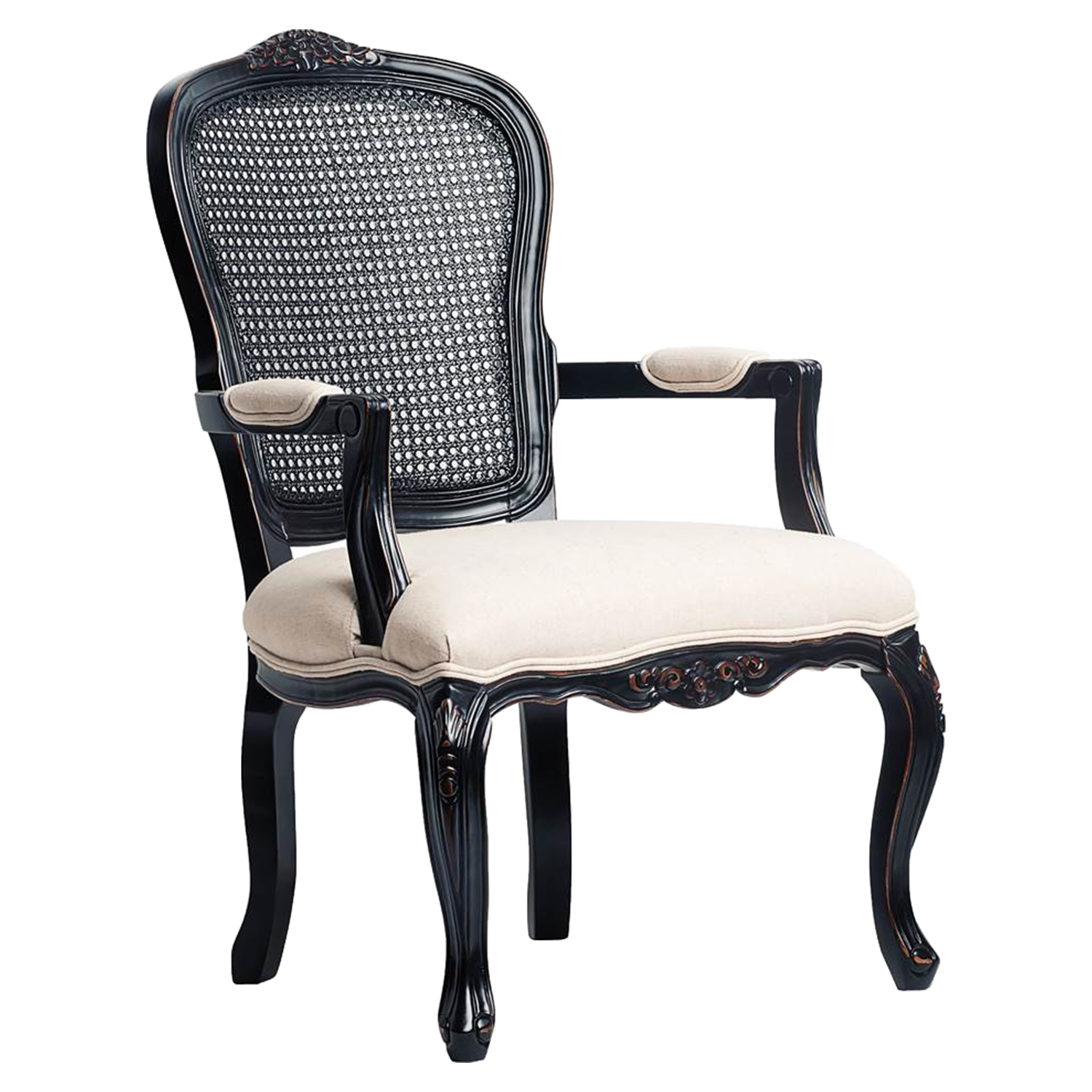 Anna Carved Chair - Black