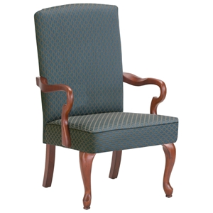 Derby Blue Accent Chair with Cherry Legs