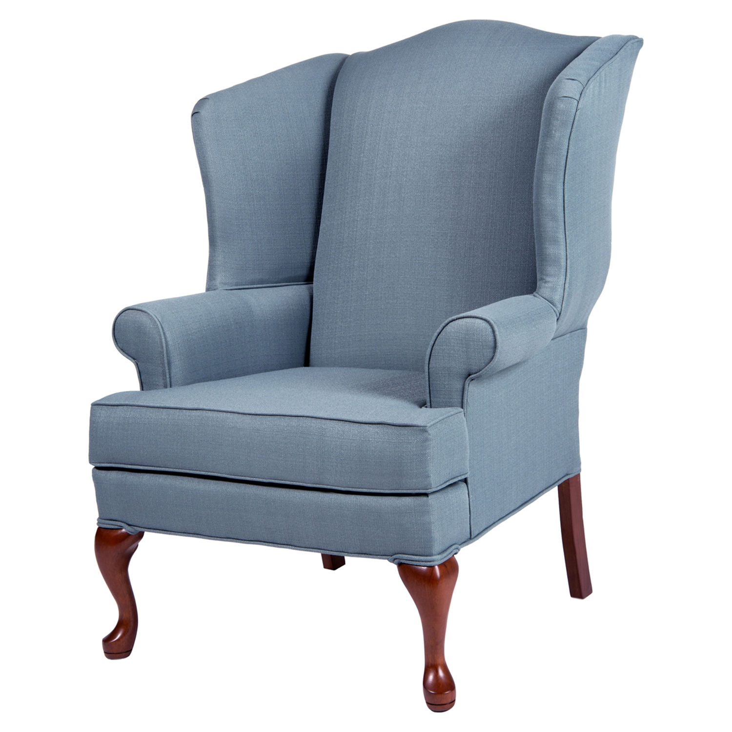 Erin Wingback Chair - Blue, Cherry
