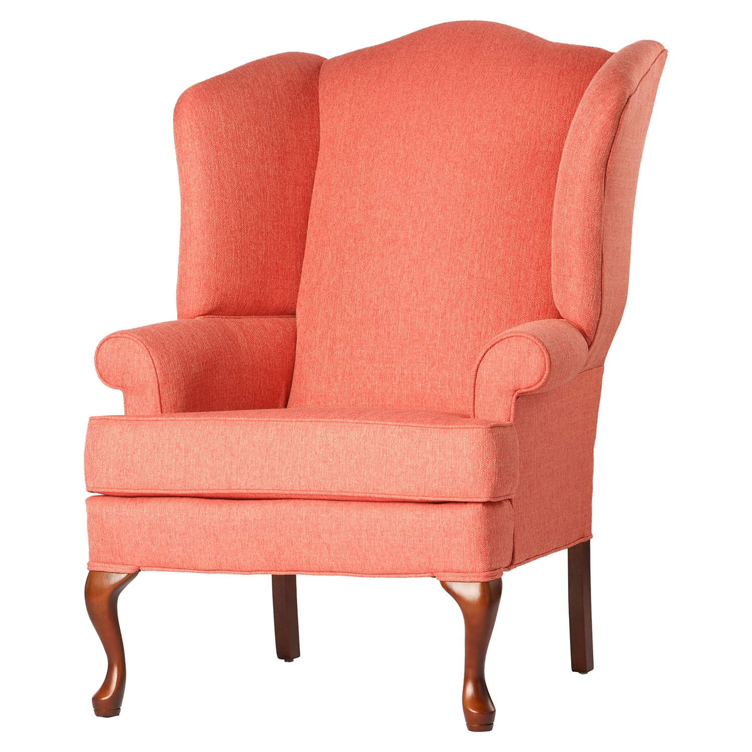 Crawford Wing Back Chair - Coral, Cherry