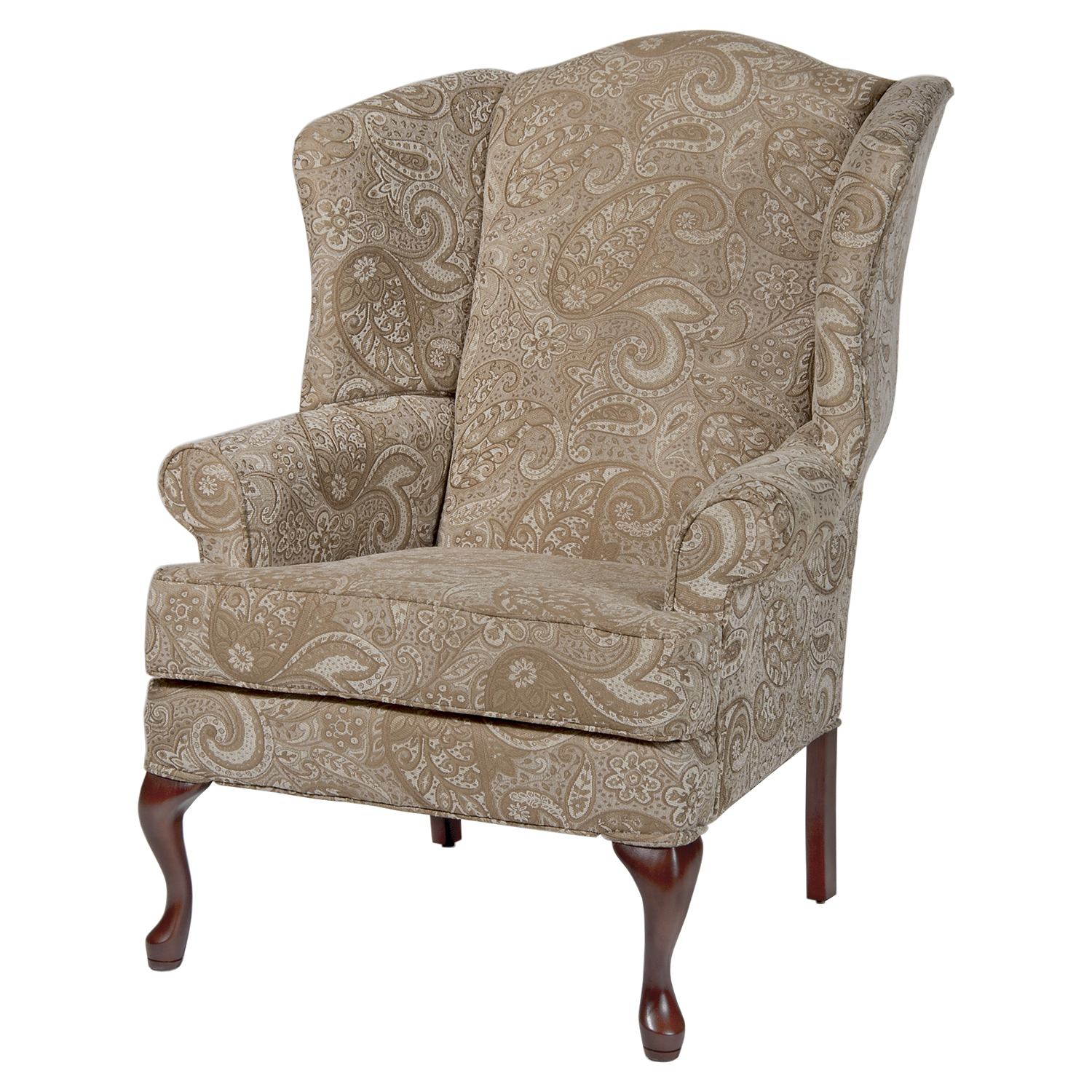 Paisley Wingback Chair - Cream, Cherry