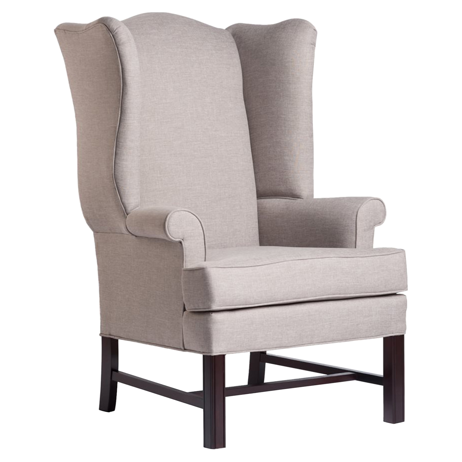 Chippendale Wingback Chair - Jitterbug Linen, Cherry