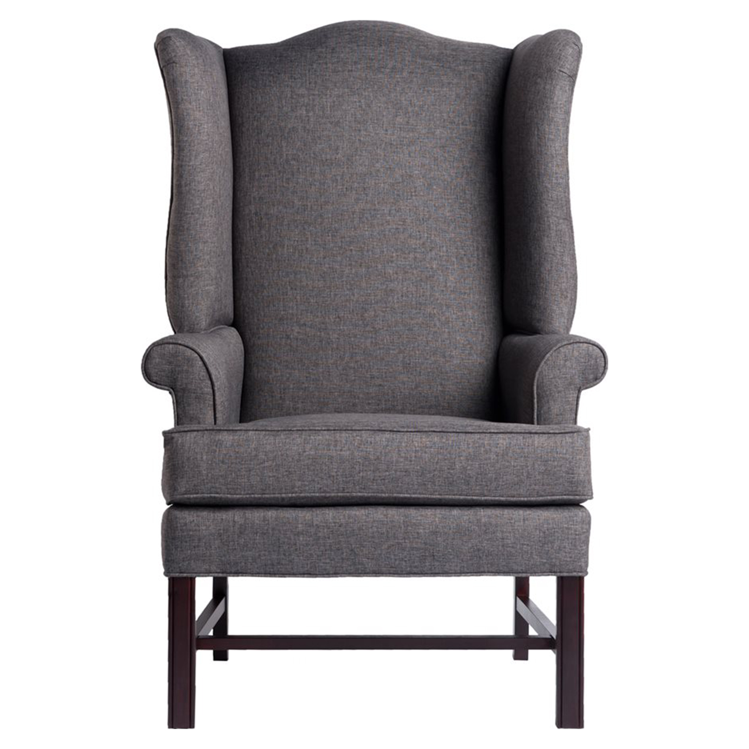 Chippendale Wingback Chair - Jitterbug Gray, Cherry - CP-8000-02