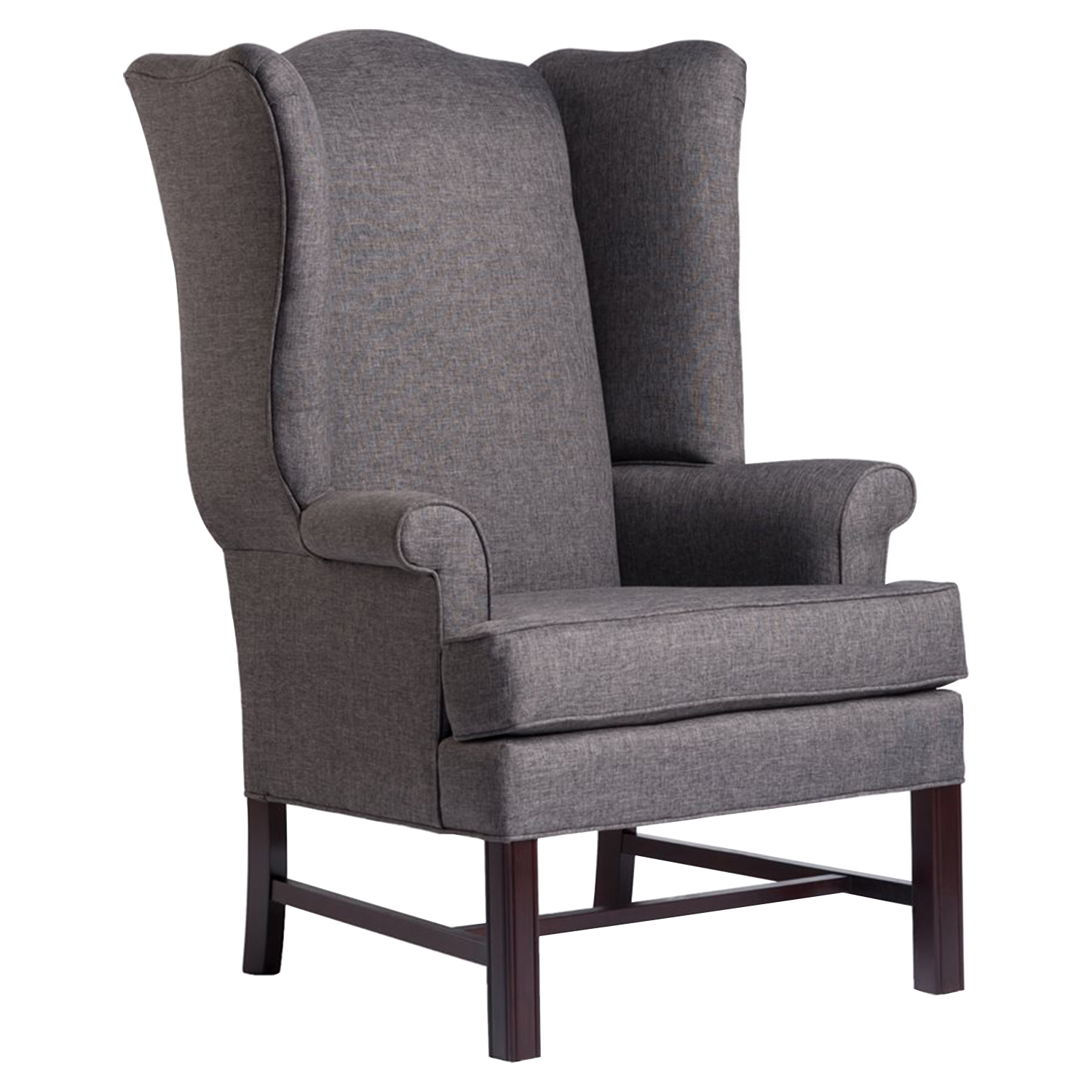 Chippendale Wingback Chair - Jitterbug Gray, Cherry