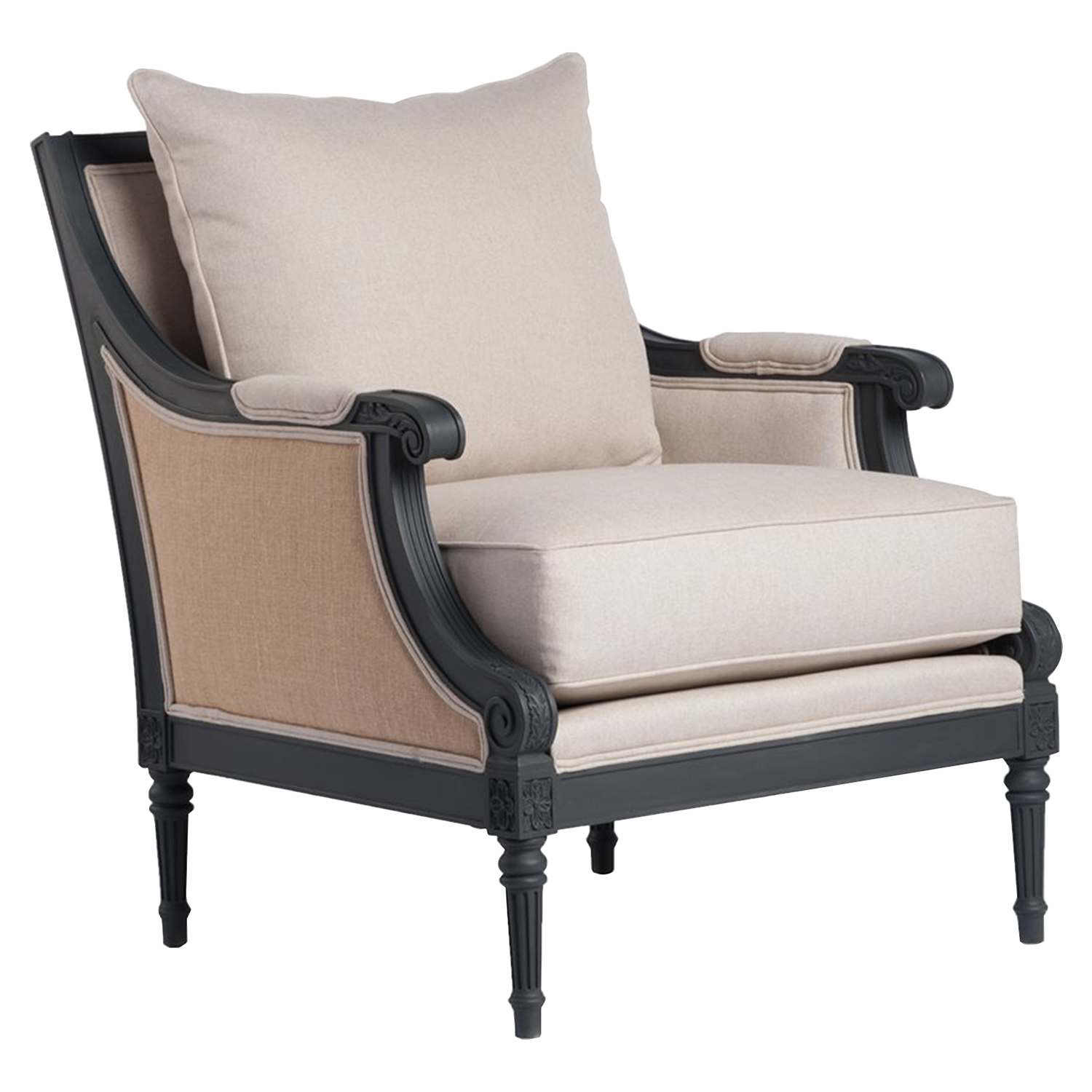 Raleigh Neoclassical Arm Chair - Graphite