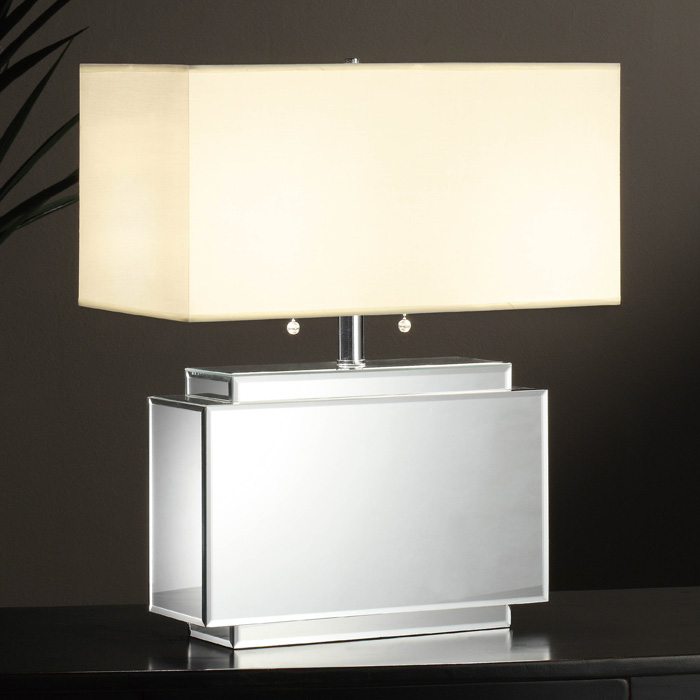White Table Lamp With Mirror Base