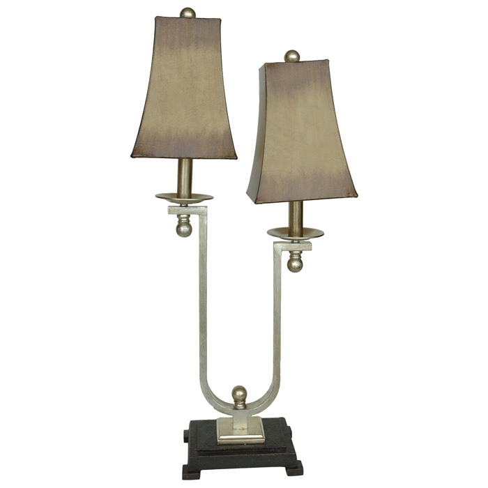 Black and silver twin light accent lamp dcg stores for Black and silver lamps