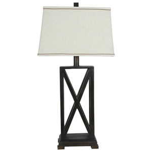 Natural Linen Shade Table Lamp with Crossed Metal Base