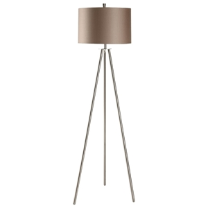 Metal Tripod in Brushed Nickel Finish Floor Lamp