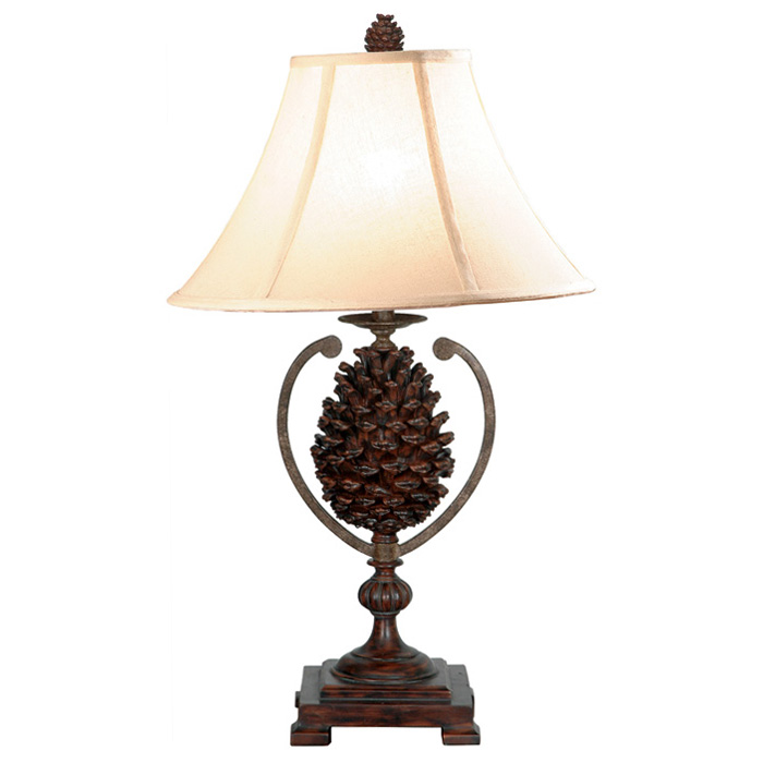 pine cone country style table lamp dcg stores. Black Bedroom Furniture Sets. Home Design Ideas