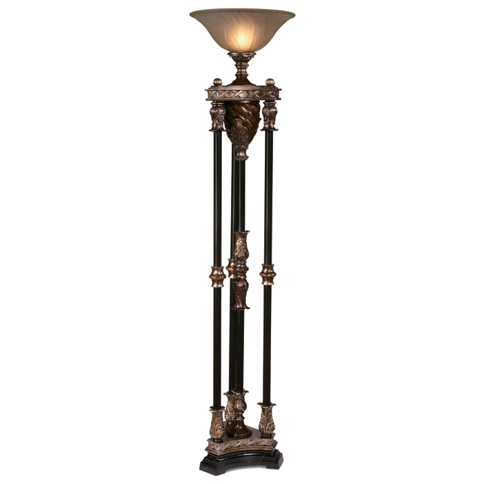 Silvered Bronze 4 Column Torchiere Uplight Lamp