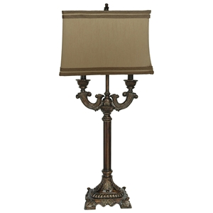 Classic Washed Bronze Table Lamp with Beige Shade