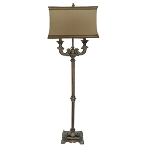 Classic Washed Bronze Floor Lamp with Beige Shade