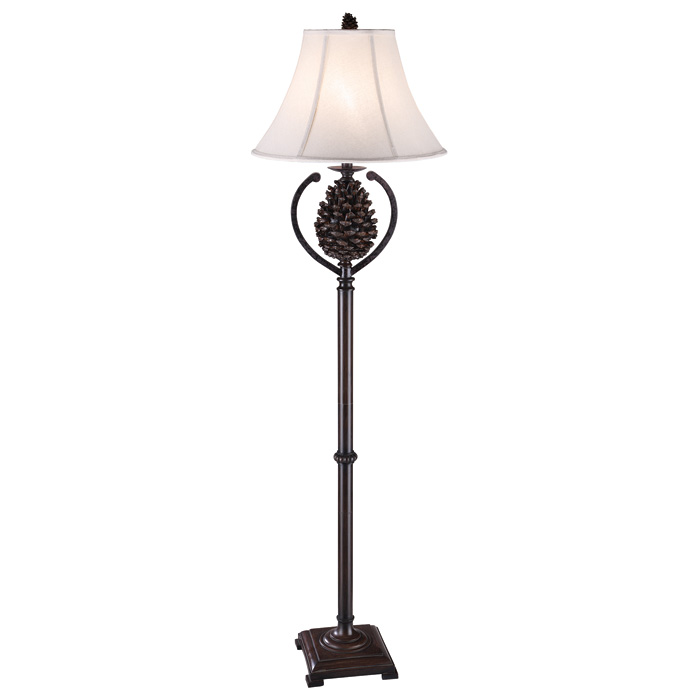 Pine cone country style floor lamp bison brown dcg stores for Country chic bedroom floor lamp