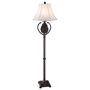 Pine Cone Country Style Floor Lamp - Bison Brown