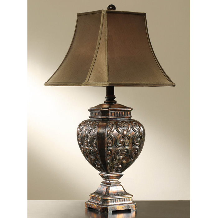 Mink brown table lamp with cafe brown bell shade dcg stores for Brown table lamp shades