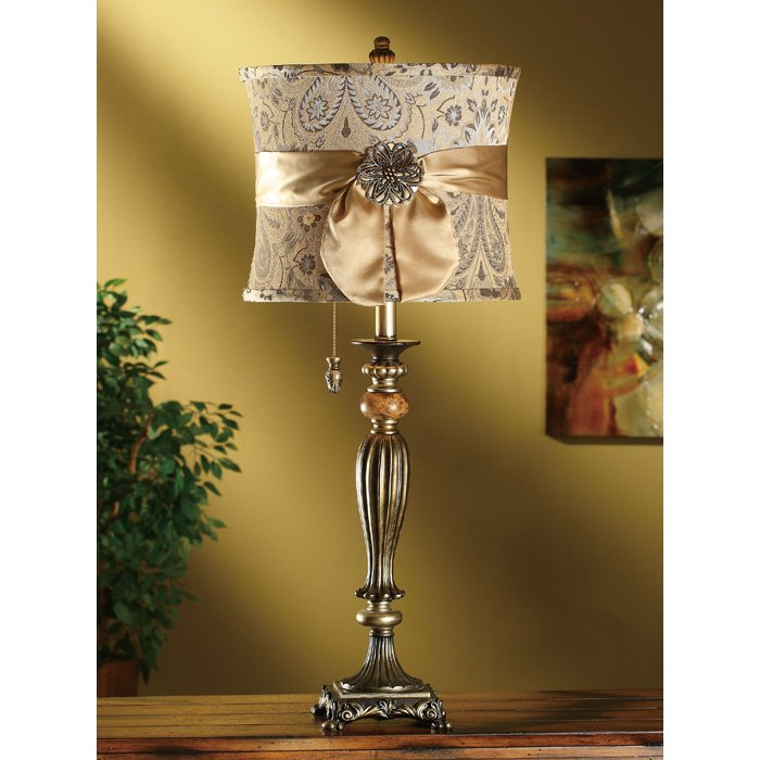 Paisley Print Shade With Tortoise Glass Base Table Lamp
