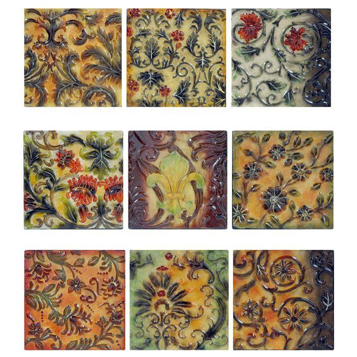 Floral And Fleur De Lis Tiles Metal Wall Art