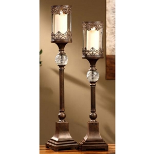 Regency Bronze 2-Piece Candle Holder Set