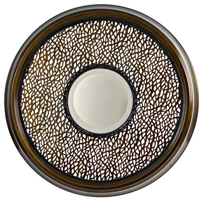 cassandra round mirror with decorative metal frame dcg stores. Black Bedroom Furniture Sets. Home Design Ideas
