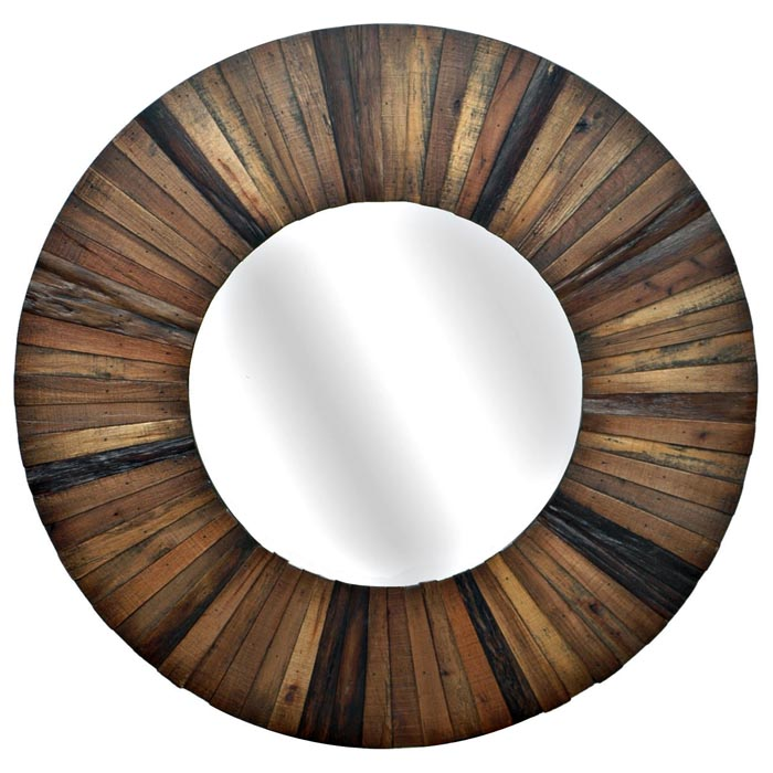 Dodge small round mirror with wood frame dcg stores for Round wood mirror