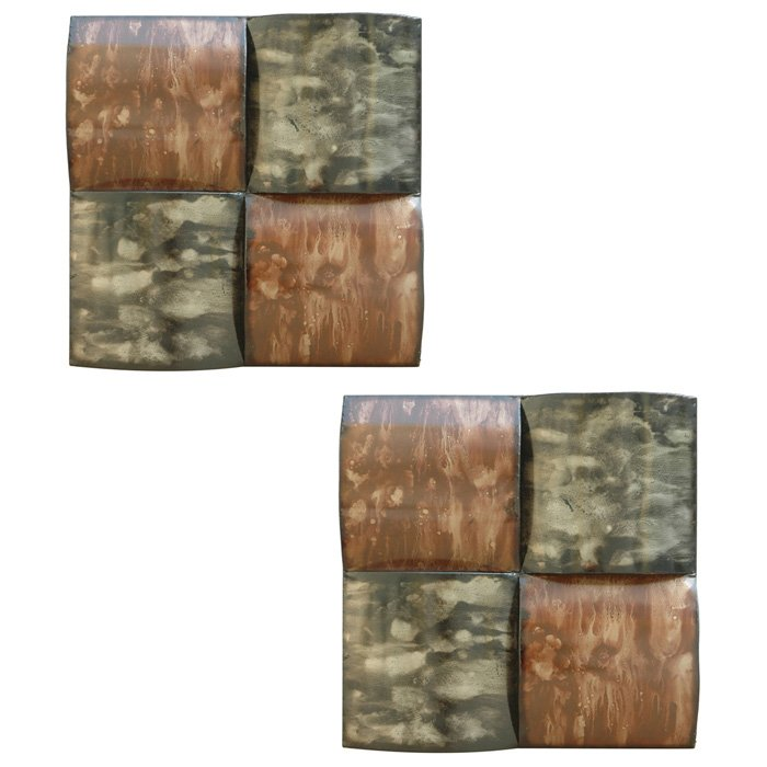 green and brown squares metal wall art set of 2 dcg stores. Black Bedroom Furniture Sets. Home Design Ideas