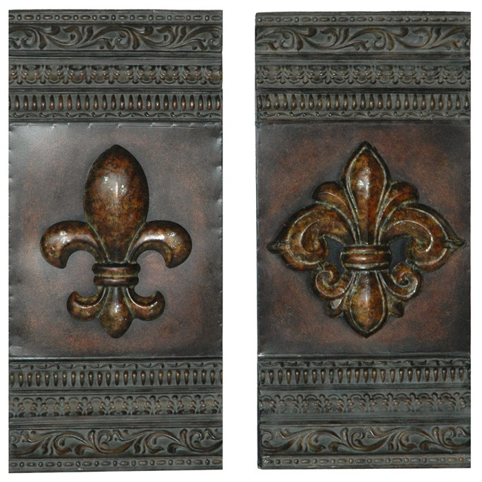 Fleur De Lis 2 Panel Metal Wall Art Dcg Stores