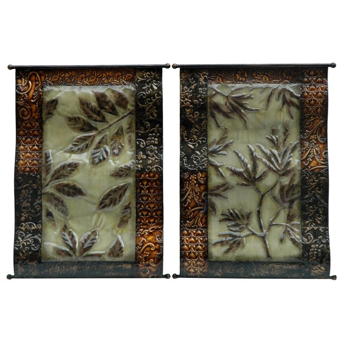 majestic botanical 2 piece metal wall art dcg stores