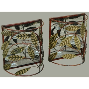 Crawling Vines Metal Wall Sconce Decor with Cancel Holder (Set of 2)