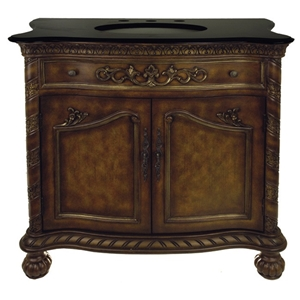 Black Marble Top Sink Vanity with Carved Accents