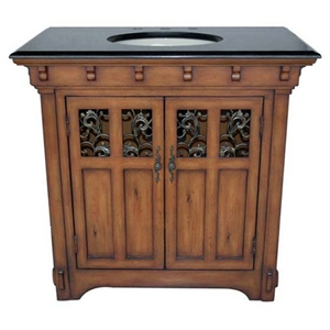 Black Top Sink Vanity with Scrollwork Accents