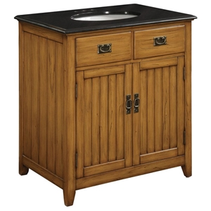 Black Top and Wood Cabinet Sink Vanity