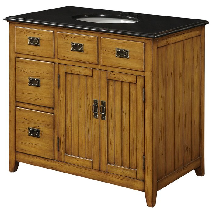 Black Top And Wood Cabinet Sink Vanity With 5 Drawers Dcg Stores