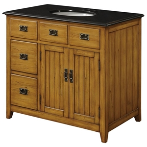 Black Top and Wood Cabinet Sink Vanity with 5 Drawers
