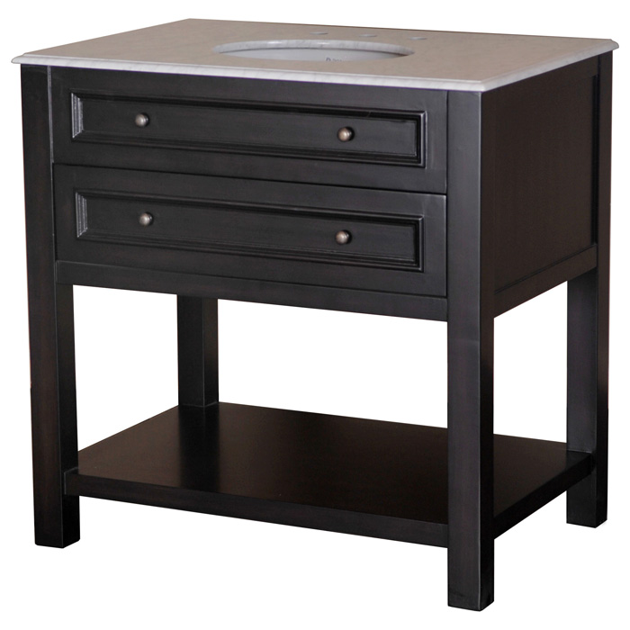 Sink Vanity with 2 Drawers and Open Shelf  DCG Stores