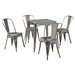 Amelia Metal Cafe Chair - Galvanized (Set of 2) - CROS-CF500617-GA