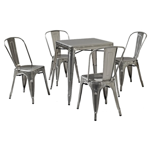Amelia 5 Pieces Metal Cafe Dining Set - Galvanized