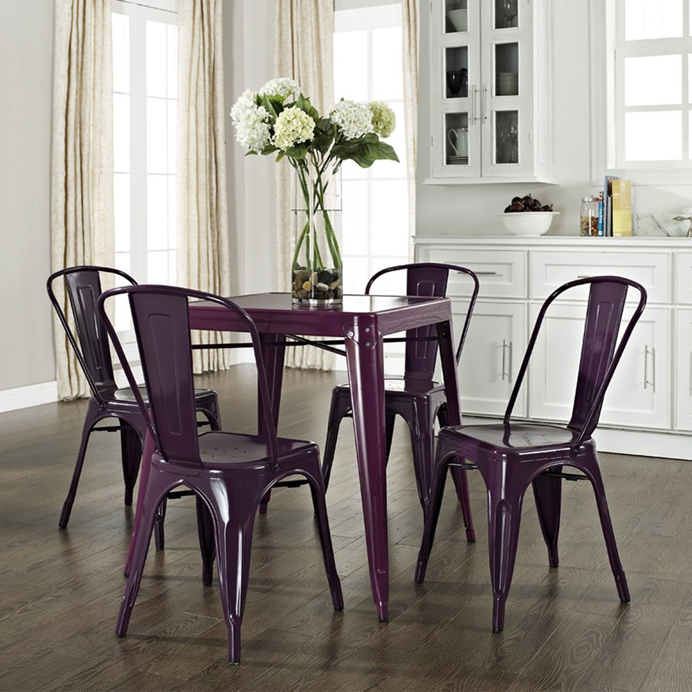 Amelia Metal Cafe Table Purple Dcg Stores
