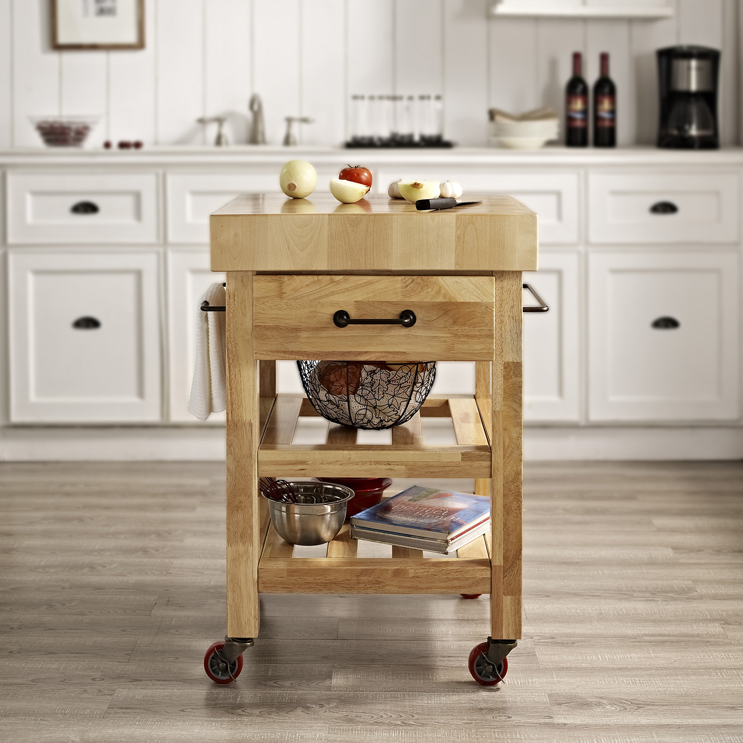 Marston Kitchen Cart - Butcher Block, Natural - CROS-CF3007-NA