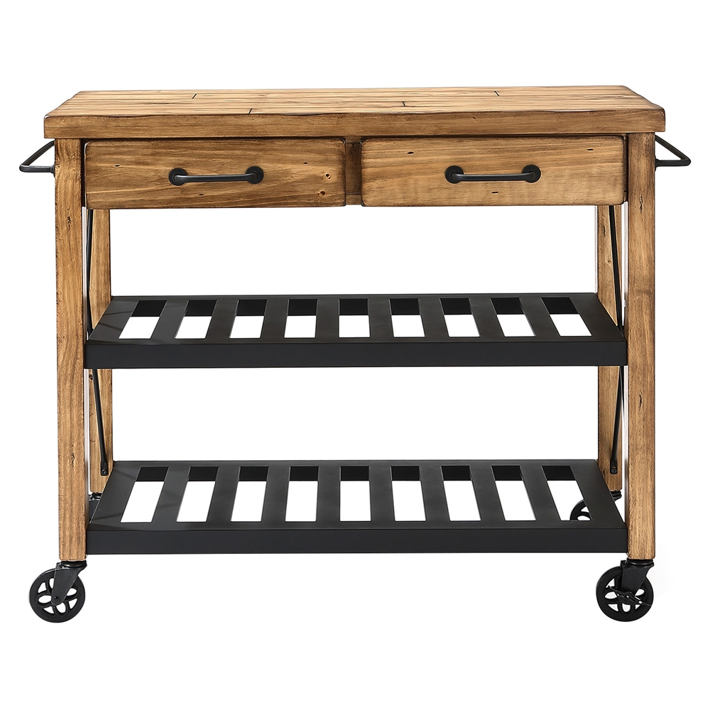 Crosley Roots Rack Industrial Kitchen Cart: Roots Rack Industrial Kitchen Cart - Natural