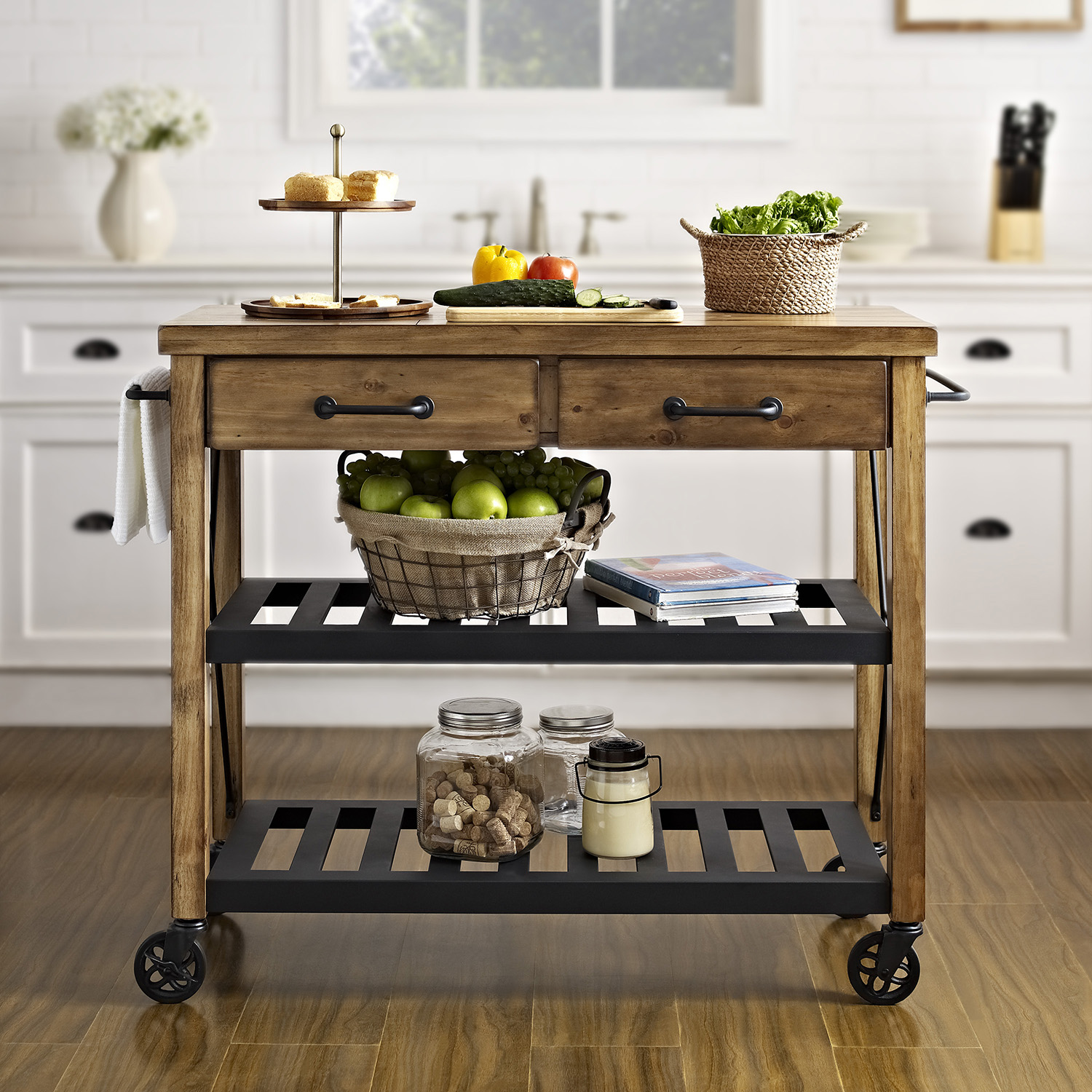 Roots Rack Kitchen Cart Pine: Roots Rack Industrial Kitchen Cart - Natural