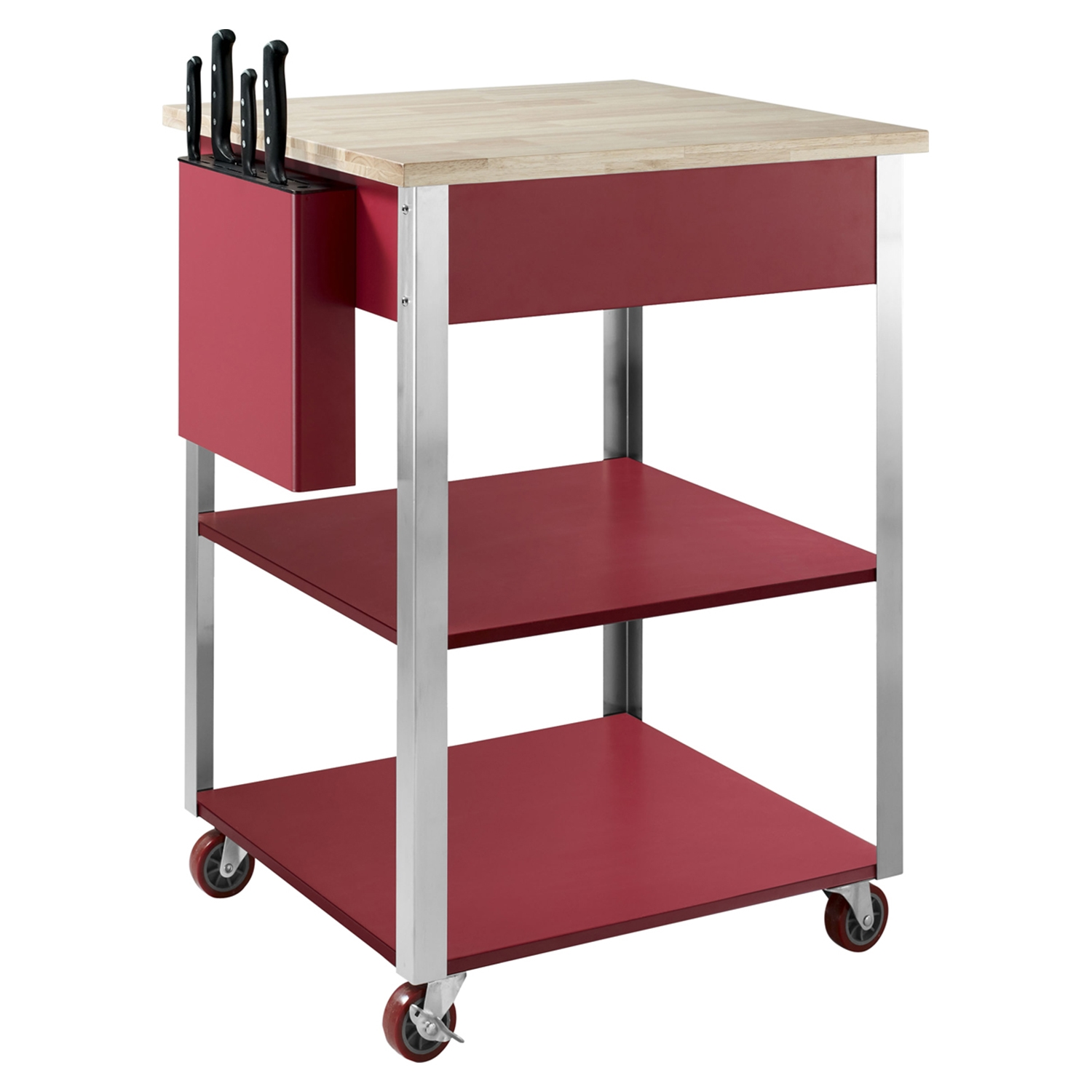 Culinary Prep Kitchen Cart - Red - CROS-CF3009-RE