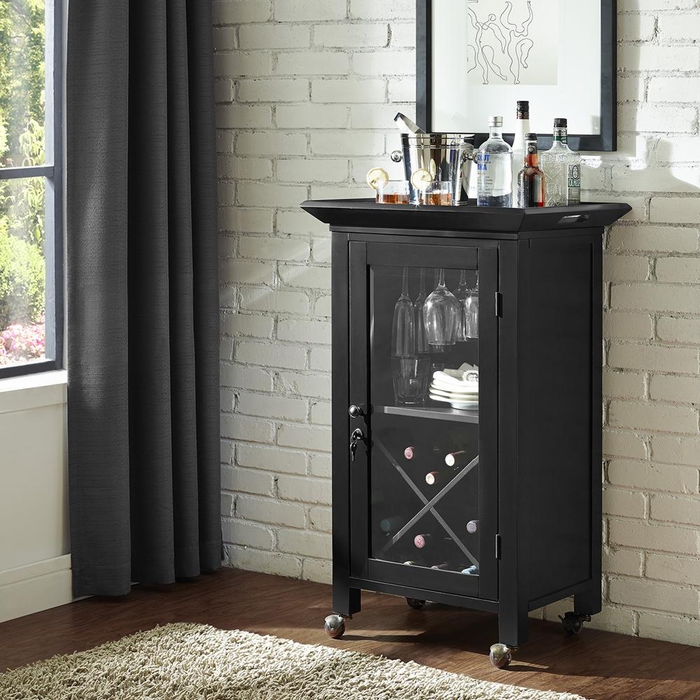 Alexandria Expandable Home Bar Liquor Cabinet: Jefferson Portable Bar - Black