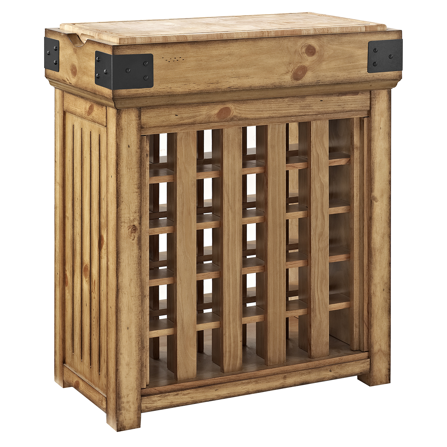 Crosley Roots Rack Industrial Kitchen Cart In Natural: Bistro Wine Island - Natural