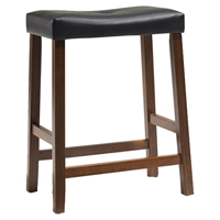 Upholstered Saddle Seat Bar Stool with 24 Inch Seat Height - Classic Cherry (Set of 2)