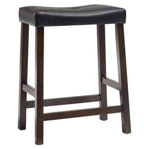 Upholstered Saddle Seat Bar Stool with 24 Inch Seat Height - Mahogany (Set of 2)