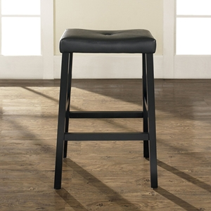 Upholstered Saddle Seat Bar Stool with 29 Inch Seat Height - Black (Set of 2)