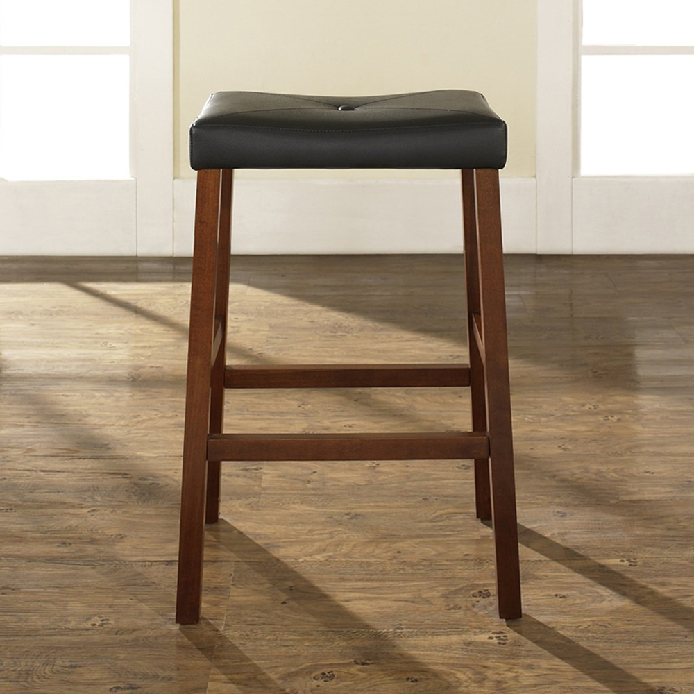 Upholstered Saddle Seat Bar Stool With 29 Inch Seat