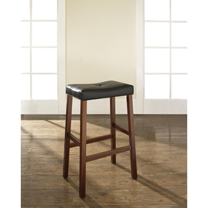 Upholstered Saddle Seat Bar Stool with 29 Inch Seat - Classic Cherry (Set of 2)